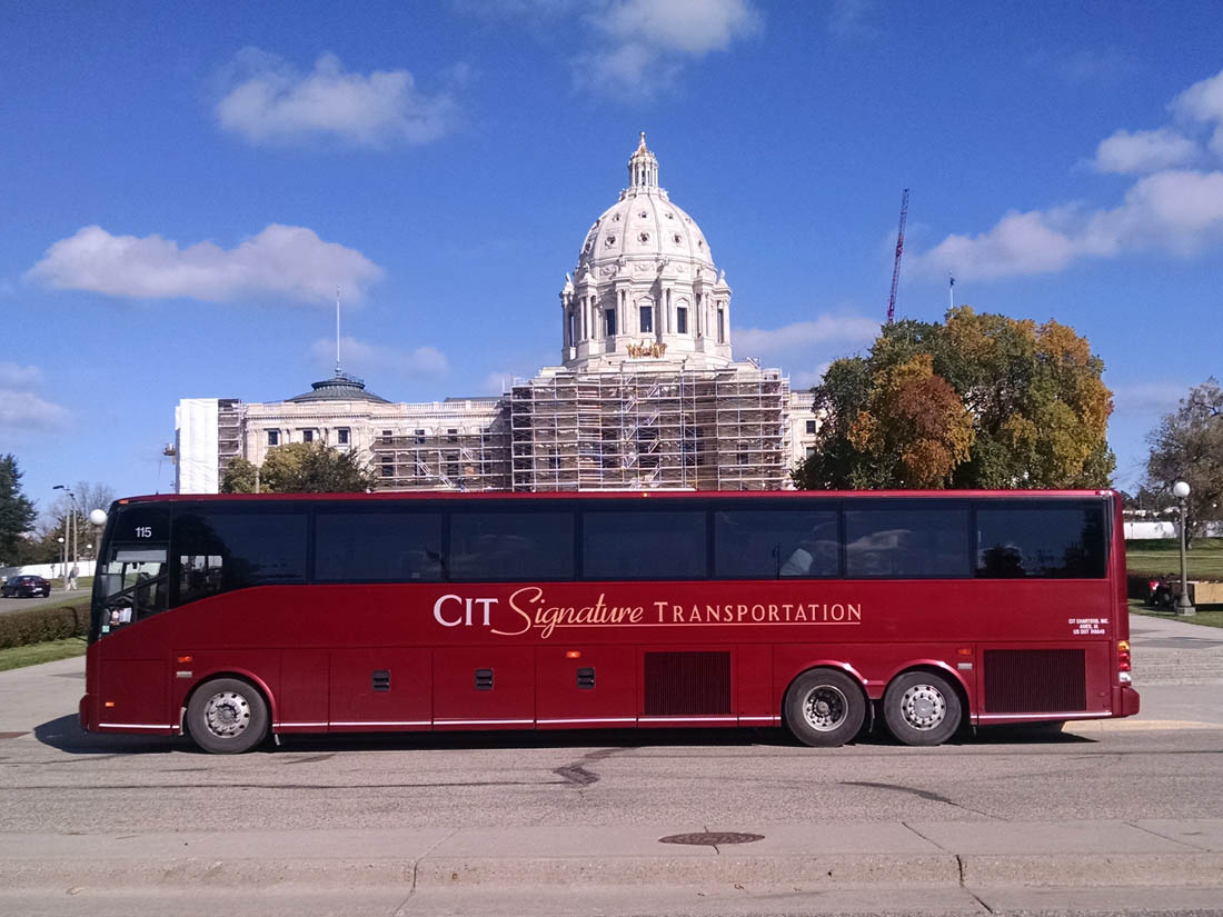 Motorcoach Group Transportation Service Parked in Des Moines, Iowa