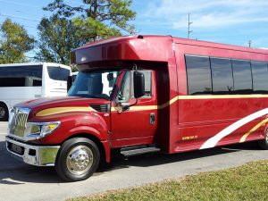 Driver side view of Charter Bus in Iowa
