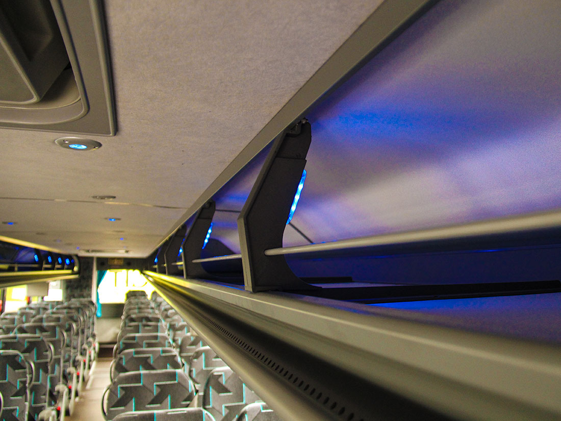 Overhead storage amenities for Charter Bus Transportation Services