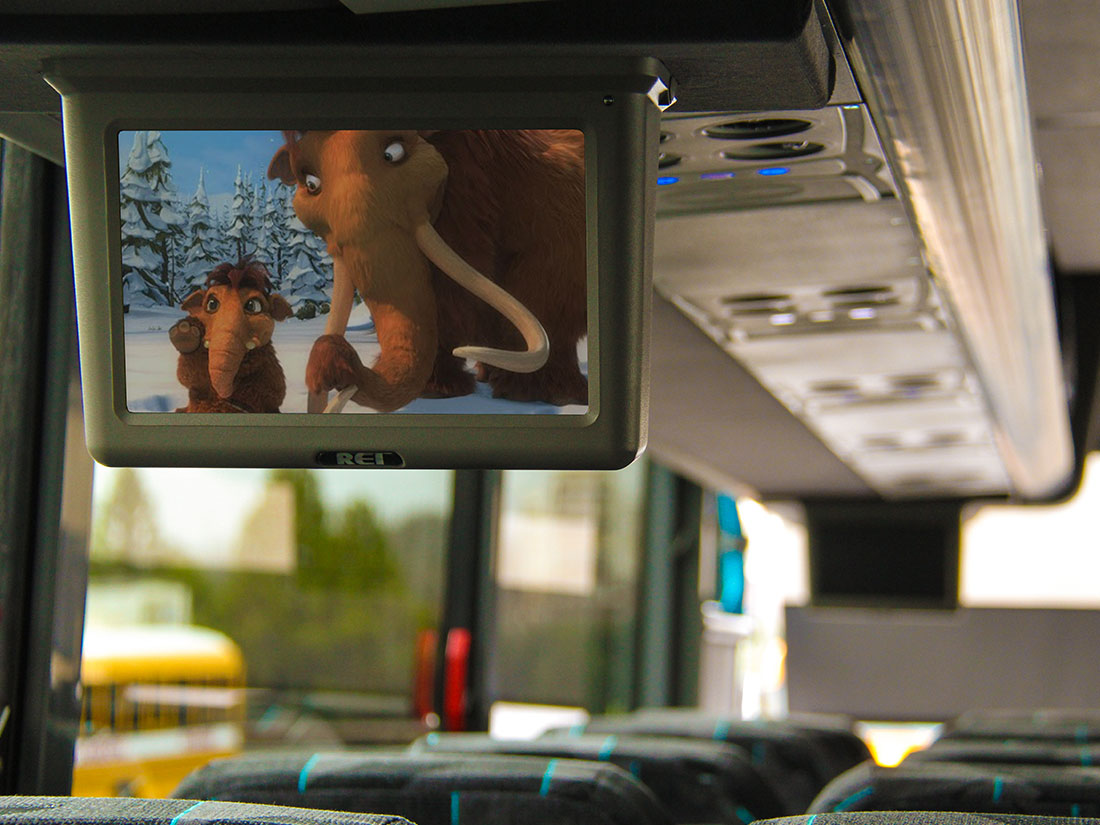 Video Screen Showing Motorcoach Amenities