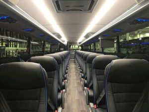Interior of Chartered Motorcoach for Rent in Des Moines, Iowa