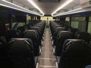 Motorcoach Interior with Luxury Seating for Rent in Des Moines, Iowa